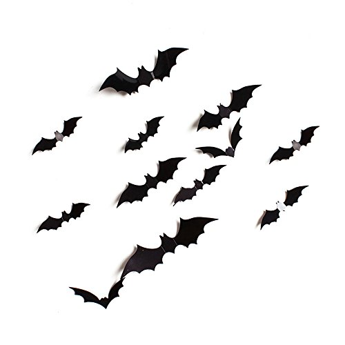 Halloween Décor 24 Pack PVC Spooky Bats Birds and Sheet of Decals Adhesive Sticker ShinMe Halloween Eva Party 3D Realistic Wall sticker for Home Party Christmas Mural Kids (Black-24 pieces)