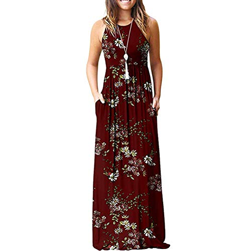 Maxi Dresses for Womens Sleeveless Casual Summer Floral Maxi Dress with Pockets Red