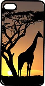 Serene Safari Scene with Tree & Giraffe Tinted Rubber Case for Apple iPhone 5 or iPhone 5s