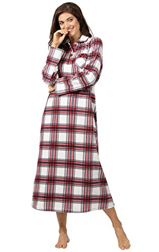 PajamaGram Fleece Nightgowns for Women - Plaid Nightgown, Red, M, 8-10