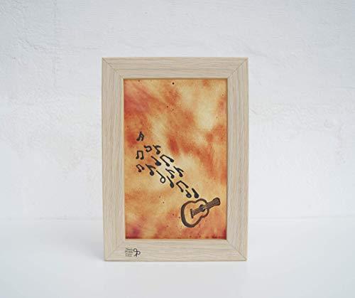 Cuadro pintado en vidrio con guitarra y notas musicales ...