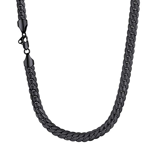 U7 Men Heavy Snake Curb Chain Thick 9MM Wide 18KGP Stamp Street Rock Hip Hop Style Jewelry Ion Plating Black Metal Chunky Necklace (22 inches)