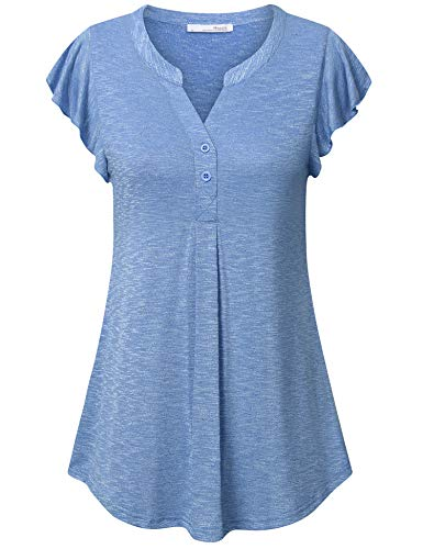 Messic Women's Short Sleeve Tunic Tops, Cute Summer Tops for Juniors Casual Loose Fit Swing Cuffed Shirts Flutter Sleeve Pleated Tunic Henley Button Shirts Petites Blouse Blue M (Flutter Plus Tops Sleeve)
