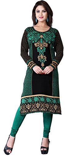 Maple Clothing Tunic Top Kurti Printed Womens Blouse Indian Clothes – S…Bust 34 inches, Green