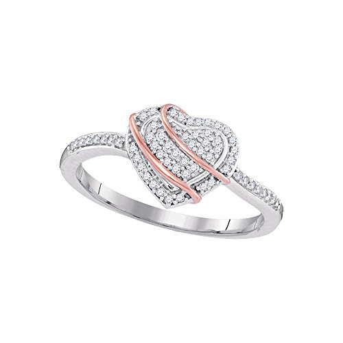 Jewels By Lux 10kt White Gold Womens Round Diamond Heart Cluster Ring 1/6 Cttw Ring Size 9