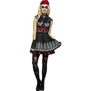 Amakando Outfit gótico La Catrina Disfraz Sexy Sugar Skull S 36/38 Vestido Día de los Muertos Traje Carnaval Mexicano Ropa Fiesta de los Muertos Halloween Atuendo Halloween Mujer con Calavera