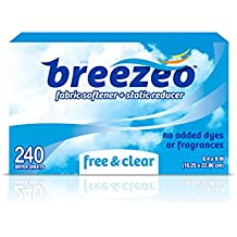 Breezeo Fabric Softener Dryer Sheets, Free & Clear, Unscented, 240 Count