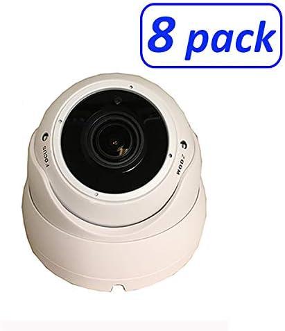 1080P 4in1 HD-TVI, HD-AHD, HD-CVI, CVBS Standard Analog STARVIS Image Sensor 2.8-12mm Varifocal Lens Dome Camera 8 Pack, White
