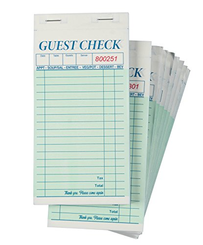 Juvale 10-Pack Restaurant Guest Check Pads - 50 Sheets and 50 Carbon Copies Each, 3.4 x 7 Inches