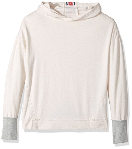 Splendid Oatmeal (Splendid Girls' Slim Size Speckle Baby French Terry Hoodie Sweatshirt, Oatmeal, 7/8)
