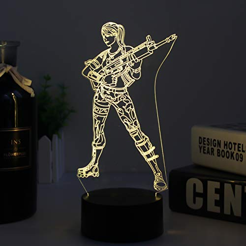 3d Fortress Battle Royale LED Lamp Lights Changeable USB Touch Lampada 3D Visual Bulbing lampen Children's Room Decor Holiday Light (black Fortress gun) by HOOFUN (Image #2)