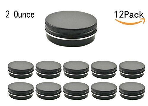 Black Screw Top (JKLcom 2Oz Aluminum Metal Tin Black Aluminum Tins Round Tin Cans Containers with Screw Top Lid (Black, 12))