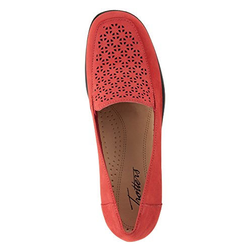 Nubuck Leather Women's Mini Loafer Trotters Cut Laser Jenn Red 6qFwUH