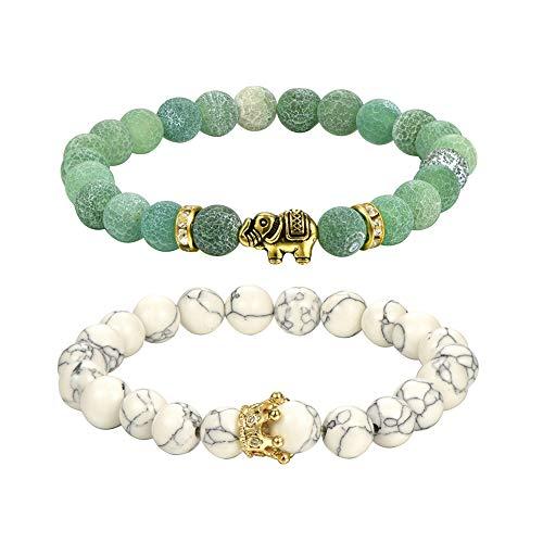 Femeauty Fau 8mm Couple Bracelets Yoga Balancing Agate Natural Gemstone with Elephant Stress Relief Stretch Bracelet (A)