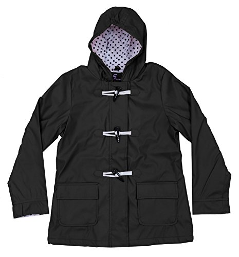 Youth Girls Apparel No. 5 Hooded Fully Lined Toggle Packable Rain Coat (Medium (8/10), Black)