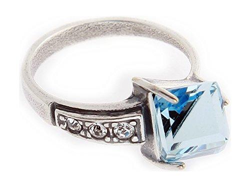 """Swarowsky Jenavi Ring """"Kub"""" w/blue Swarovski"""