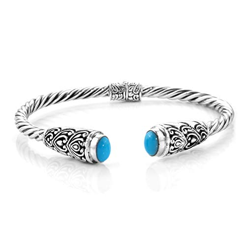 Cuff Bangle Bracelet 925 Sterling Silver Oval Sleeping Beauty Turquoise Gift Jewelry for Women Size 7.5