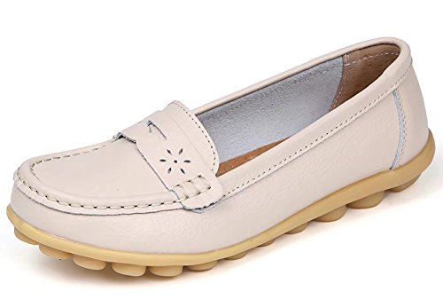 Women%27s+Genuine+Leather+Casual+Penny+Loafers+Slip+On+US+Size+9+Beige