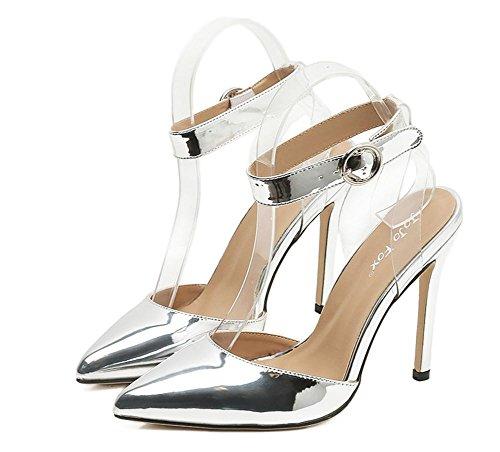 Festa Vestito 35 alto EUR piede Sexy XIE Argento Dito Discoteca Cinghia Fibbia Stiletto Scarpe 3 appuntito sandali singolo Oro UK Caviglia Donna Tacco Trasparente del L qgHRwXBg