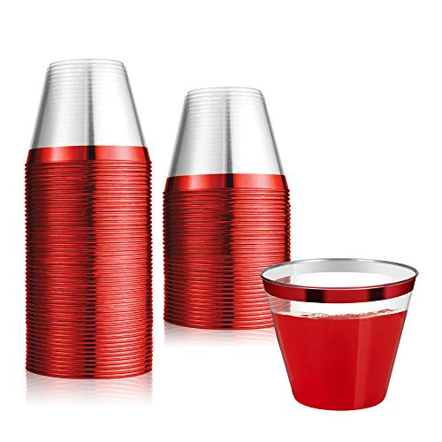 100 Count 9oz Disposable Clear Cup-Red Trim Cup/Old Fashioned Tumblers/Plastic Wedding Cups/Fancy Party Cups -