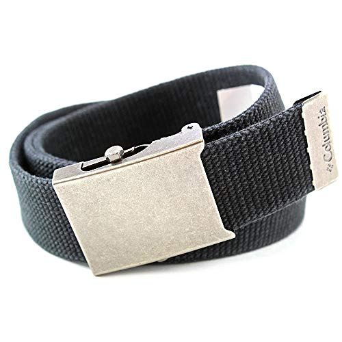 Columbia Men's Military Web Belt - Casual for Jeans Adjustable One Size Cotton Strap and Metal Plaque Buckle,Black,One - Belt Buckle Plaque Leather