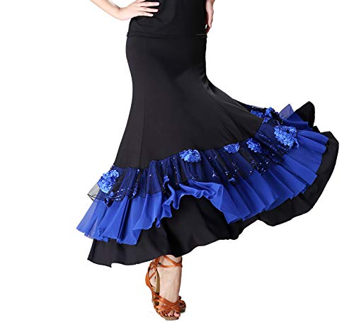 Long Full Ballroom Smooth Flamenco Style Waltz Dance Skirts Costumes Halloween -