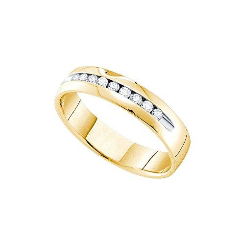 14kt Yellow Gold Mens Round Channel-set Diamond Single Row Wedding Band Ring 1/4 Cttw (I1-I2 clarity; H-I (Mens Single Diamond Band)