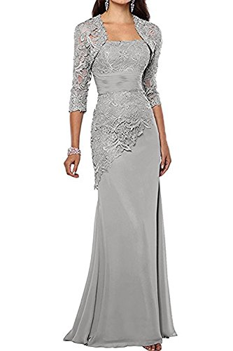 Pretygirl Women's Lace Long Mother Of The Bride Dress With Jacket Formal Evening Gowns (US 16, Silver Grey)