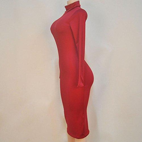 Honghu Vestido para Mujer Del Partido Del Club De La Manga Larga Rojo oscuro