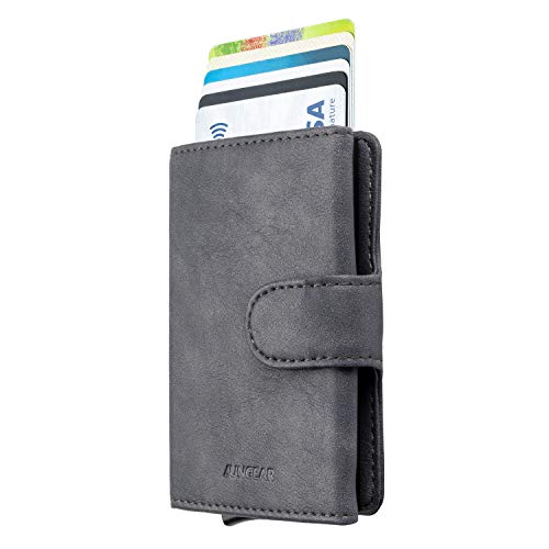 LUNGEAR Credit Card Holder Leather Slim Wallet RFID Blocking Pop Up Aluminum Card Case with Banknote for Men and Women (Smoky Grey)