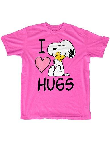 Peanuts Snoopy Woodstock I Love Hugs Pink T-Shirt