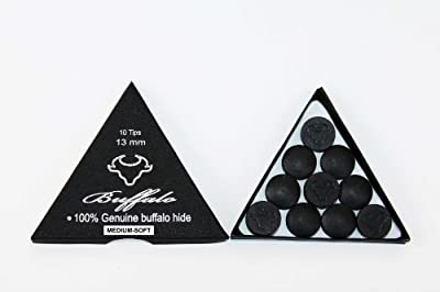 Wonders Shop USA New Billiards Cue Tips 100% Genuine Buffalo Hide EXCLUSIVE BUFFALO BRAND - 13 mm Medium SOFT Rating - 10 Pieces Per BOX - COLOR BLACK