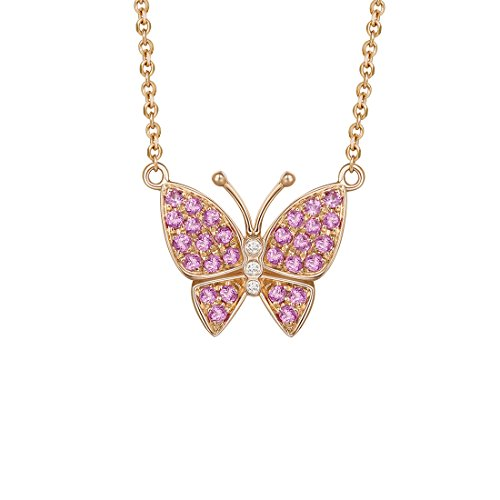 Solid 18K Rose Gold 1/3cttw Natural Diamond Pink Sapphire Cute Gold Butterfly Necklace Fine Jewelry for Women Girls (0.03cttw Diamond, I_J Color)