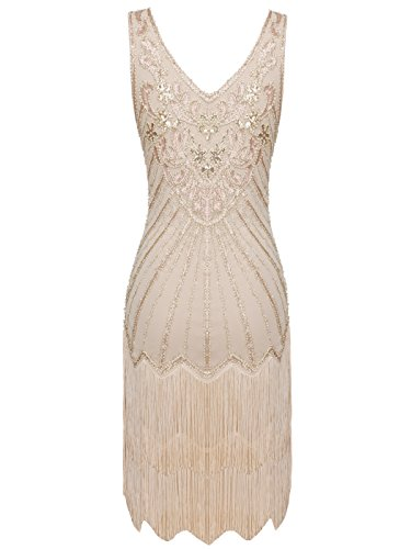 Double COUPLE Hem Sequined FAIRY Beige Tassels Party D20S020 Cocktail 1920s Short Flapper Dress Layer 0dUwHqd