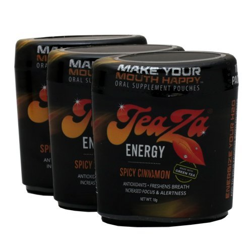 Teaza Herbal Energy Pouches .10g Puck/Can - Spicy Cinnamon - 10 Pouches per Puck (5 Pucks)