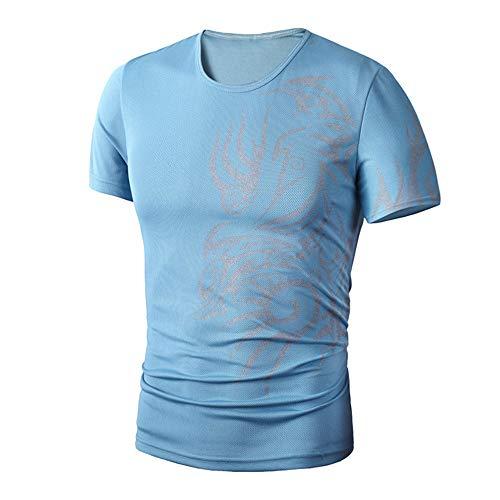 PASATO Men Summer Round Neck Tee Printing Men's Short-Sleeved T-Shirt Top Blouse(Blue,L=US:M) by PASATO Blouse For Men (Image #1)