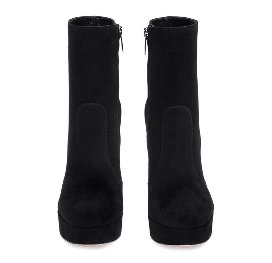 Shiney Damenschuhe Wildleder Rundkopf Chunky Heel Grau Grau Grau Schwarz Wasserdicht Plattform Stiefeletten 6dd01d