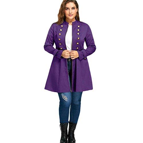 Double Évasé Violet Vintage Trench Femme Taille Manteau Long Automne Veste Hiver Rosegal Grande Blouson À Boutonnage fwpqHH