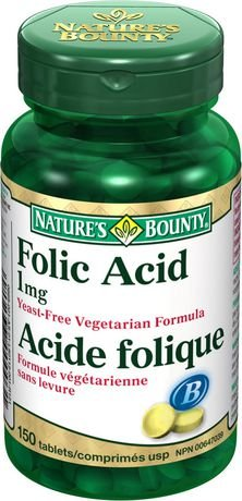 Nature's Bounty Folic Acid 1 mg 150 Tablets (packaging may vary)
