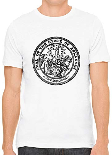 Austin Ink Apparel Arkansas State Seal Cotton Crewneck Unisex T-Shirt White 3XL
