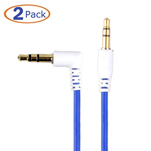 Conwork 2-Pack 3.5mm Male To Male Right Angle Stereo Audio Cable (4 Feet) - 90 Degree Connector For Flush Connections for iPhone, iPod, Smartphone, Tablet and MP3 -Blue