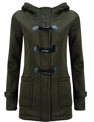 Pullover Pea Lana de Invierno Verde Casual LooBoo Abrigo Chaqueta Jacket Coat Capa Ejercito Sudadera con Parka Mujer Capucha Ow6xWnqpw