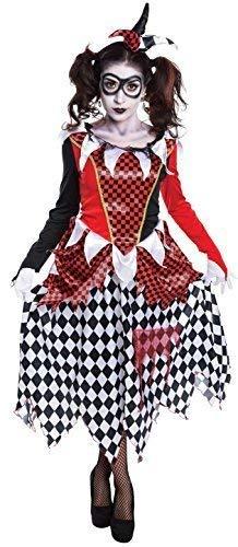 Ladies Harlequin Evil Clown Halloween Horror Circus Fancy Dress Costume Outfit UK 10-12-14