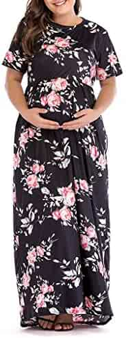 f7c93b1a196c1 EDTO Women's Pregnancy Dresses, Short Sleeve Floral Dress Maternity Clothes