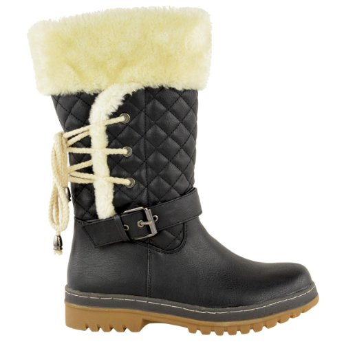 FUR Leather Zip SOLE WINTER BOOTS SIZE Black No ANKLE LINED WOMENS HIGH KNEE GRIP LADIES Faux CALF FLAT SNOW A7BBqaxUw0