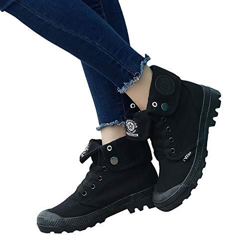 De Tacón Alto Y Con By Negro Planos Cordones Mujer Plataforma Zapatos Puños Lona Para Clásicas Zapatillas Militar Bazhahei Tobillo qfXBZ