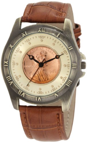August Steiner Men's CN001G-AS Round Wheat Penny Antique Copper Collectors Coin Watch