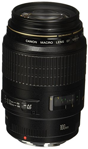 Canon 4657A006-cr EF 100mm F/2.8 Macro USM Fixed Lens for SLR Cameras, Black (Renewed)