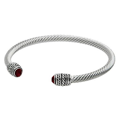 Siam Sterling Bracelet (Crystal 4mm Cable Wire Bracelet High Polished Rhodium Siam B0161-SIAM)
