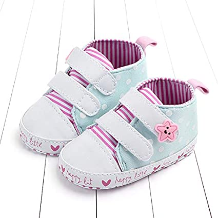 2019 Newborn Baby Girls Boys Shoes Spring Blue Pink Striped Infant Lovely Anti-Slip First Walker Lace-Up Baby Moccasins Schoenen 13-18months/_13cm, Blue